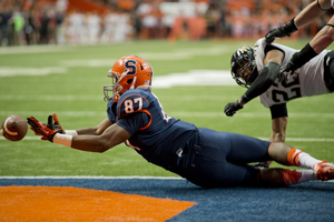 As a senior this year, Kendall Moore caught only one pass in 12 games for an SU team that finished 4-8 under first-year head coach Dino Babers. Above, Moore lays out for a pass in 2014.