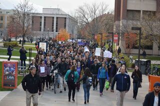 Hundreds of students marched through both campus at Syracuse University and SUNY-ESF.